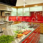This new kitchen resembles a science laboratory  countertop, interior design, kitchen, orange