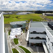 The Crossing at Highbrook Business Park was constructed aerial photography, architecture, building, real estate, residential area, roof, sky, suburb, urban area, urban design, white
