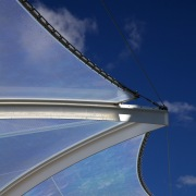 The soaring roof of the Kauwi Interpretive Centre architecture, atmosphere of earth, bridge, cable stayed bridge, cloud, daytime, extradosed bridge, fixed link, line, reflection, sky, structure, blue