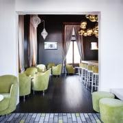 Resene Zylone Sheen tinted to Resene Nero was furniture, interior design, room, suite, table, white