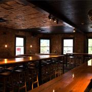 Bar restoration with Caroma and Fowler fittings - bar, café, interior design, lighting, pub, restaurant, table, tavern, black
