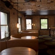 Bar restoration with Caroma and Fowler fittings - architecture, ceiling, daylighting, furniture, house, interior design, lighting, table, wood, brown, red