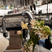 Bar restoration with Caroma and Fowler fittings - centrepiece, floral design, floristry, flower, flower arranging, flower bouquet, plant, tableware, gray, brown, black