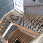 Bar restoration with Caroma and Fowler fittings - baluster, daylighting, floor, handrail, roof, stairs, wood, gray