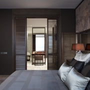 his bedroom opens to an ensuite bathroom featuring ceiling, interior design, room, suite, window, black, gray