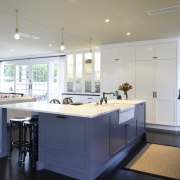 Simple, hand-painted cabinets in dark gray and off-white cabinetry, countertop, cuisine classique, interior design, kitchen, real estate, room, gray