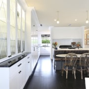 A diamond pattern features in this kitchen design ceiling, countertop, cuisine classique, daylighting, floor, flooring, interior design, kitchen, real estate, room, white