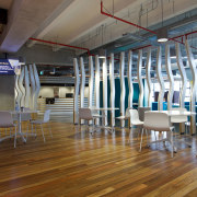 Floorboards in the café on Level 3 of ceiling, floor, flooring, furniture, hardwood, interior design, leisure centre, sport venue, structure, table, wood, wood flooring, brown, gray