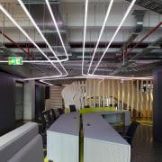 Zig-zag lighting by Aesthetics LIghting was custom designed architecture, ceiling, interior design, structure, gray, black