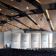 The building framework, protruding stage and attached canopy architecture, auditorium, ceiling, conference hall, convention center, function hall, interior design, lighting, performing arts center, black, brown