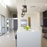 GJ Gardner Homes show home Havelock North - architecture, countertop, cuisine classique, floor, home, house, interior design, kitchen, property, real estate, room, white, gray