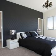 GJ Gardner Homes show home Havelock North.  bed frame, bedroom, ceiling, floor, home, interior design, property, real estate, room, wall, window, black, white