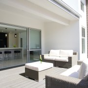 GJ Gardner Homes has opened a new show apartment, architecture, condominium, estate, house, interior design, living room, penthouse apartment, property, real estate, window, white, gray