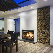 Contemporary new home - Contemporary new home - ceiling, fireplace, floor, hearth, heat, home, interior design, living room, wall, wood burning stove, gray