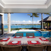 These landscape and outdoor entertaining areas were positioned estate, leisure, property, real estate, resort, swimming pool, table, villa, gray