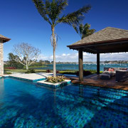 Tropical water garden with pergola, timber decking, tiles estate, home, house, leisure, property, real estate, resort, sky, swimming pool, villa, water, blue