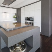 This kitchen in a new house was designed countertop, cuisine classique, floor, interior design, kitchen, real estate, gray, white