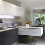 Highly functional kitchen by Colin Wright of Porcelanosa cabinetry, countertop, cuisine classique, floor, interior design, kitchen, room, gray