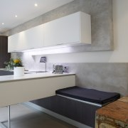 Highly functional kitchen by Colin Wright of Porcelanosa countertop, interior design, kitchen, real estate, room, gray
