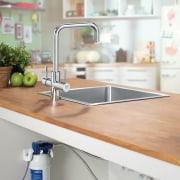 Brita water filter dispenser - Brita water filter bathroom sink, countertop, furniture, kitchen, plumbing fixture, product, product design, shelf, shelving, sink, tap, gray