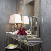 This powder room offers an eclectic appeal - ceiling, chair, furniture, home, interior design, room, table, wall, gray, black