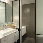 Another glass door opens to the separate toilet bathroom, interior design, room, sink, gray