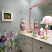 A Jack and Jill bathroom links these two ceiling, home, interior design, product, room, wall, gray