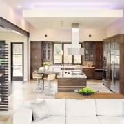 Contemporary café style wood kitchen - Contemporary café interior design, living room, lobby, white