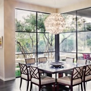 Contemporary dining area - Contemporary dining area - dining room, home, interior design, living room, property, real estate, room, table, window, white
