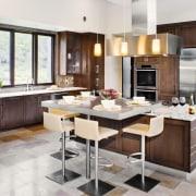 Contemporary café style wood kitchen - Contemporary café cabinetry, countertop, cuisine classique, floor, flooring, interior design, kitchen, wood flooring, white