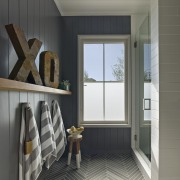 The wall boards in this bathroom are aligned architecture, floor, flooring, home, house, interior design, room, window, gray, black
