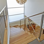 Contemporary house with flow to pool - Contemporary floor, handrail, product, product design, stairs, wood, gray