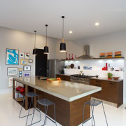 Eclectic kitchen with display space - Eclectic kitchen furniture, interior design, kitchen, product design, room, table, white, gray