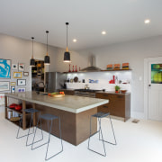 Eclectic kitchen with display space - Eclectic kitchen countertop, interior design, kitchen, real estate, room, gray, white