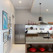 Eclectic kitchen with display space - Eclectic kitchen countertop, interior design, kitchen, room, gray, white