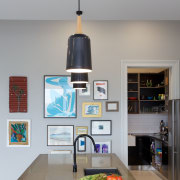 Eclectic kitchen with display space - Eclectic kitchen interior design, light fixture, product design, gray
