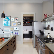 Eclectic kitchen with display space - Eclectic kitchen countertop, interior design, kitchen, room, gray