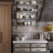 Steel shelving units with driftwood-coloured wood slats create cabinetry, countertop, cuisine classique, cupboard, drawer, furniture, kitchen, shelf, gray, brown