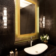 Textural black tiles enhance the glittering look of bathroom, ceiling, interior design, room, wall, window, black