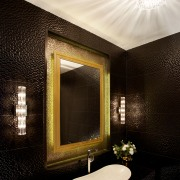 Powder room by architect Henry Lin - Powder bathroom, ceiling, daylighting, interior design, light fixture, lighting, room, wall, black, white