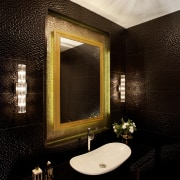 6 Ways to Turn Your Bathroom Into a architecture, bathroom, bathroom accessory, bathroom sink, ceiling, interior design, lighting, mirror, plumbing fixture, property, restroom, room, sink, tile, toilet, wall, wallpaper, black