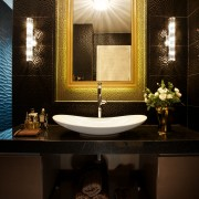 Powder room by architect Henry Lin with gilt-framed bathroom, ceiling, home, interior design, lighting, room, window, brown, black