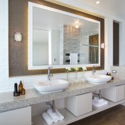 Vanity in spa-style master bathroom - Vanity in bathroom, countertop, home, interior design, room, sink, gray