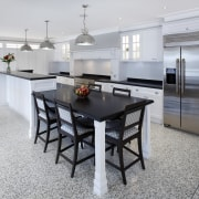 Hamptons-style kitchen by Wonderful Kitchens - Hamptons-style kitchen countertop, dining room, floor, flooring, interior design, kitchen, real estate, table, gray