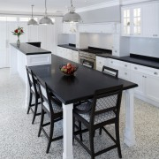 Hamptons-style transitional white kitchen - Hamptons-style transitional white chair, countertop, dining room, floor, flooring, furniture, interior design, kitchen, room, table, gray