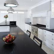 Hamptons-style transitional white kitchen - Hamptons-style transitional white countertop, floor, home, interior design, kitchen, room, white, black