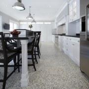 Hamptons-style transitional white kitchen - Hamptons-style transitional white countertop, dining room, floor, flooring, hardwood, home, interior design, kitchen, laminate flooring, room, tile, wood flooring, gray