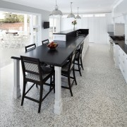 Hamptons-style transitional white kitchen - Hamptons-style transitional white dining room, floor, flooring, furniture, hardwood, interior design, kitchen, laminate flooring, room, table, tile, wood flooring, gray, white