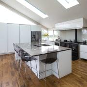 Contemporary new kitchen by Kitchen Link - Contemporary countertop, floor, flooring, hardwood, interior design, kitchen, real estate, room, wood flooring, gray, white