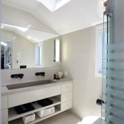 For this remodel, the designer specified a glass architecture, ceiling, daylighting, floor, home, interior design, room, gray